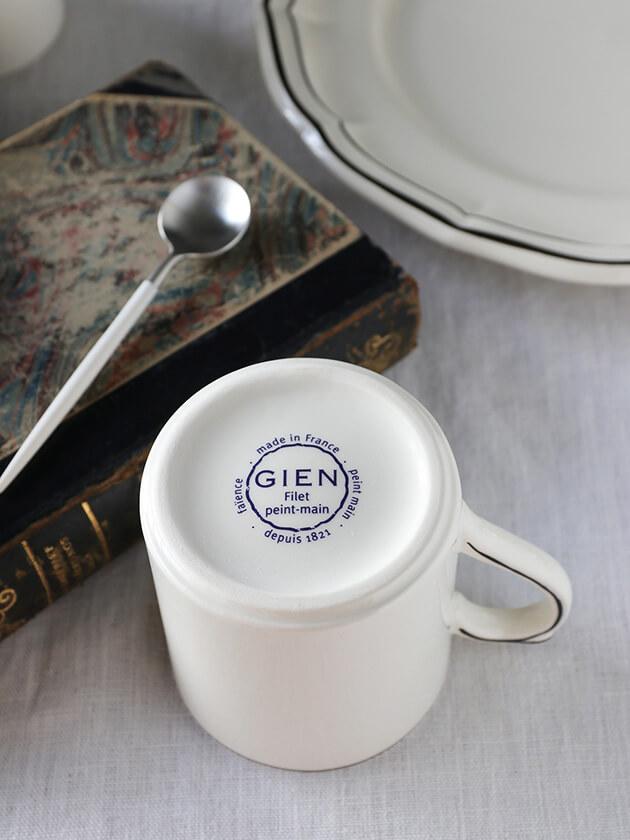 GienマグカップFilet MANGANESE ジアンフィレ Gien Filet MANGANESE Mug Cup