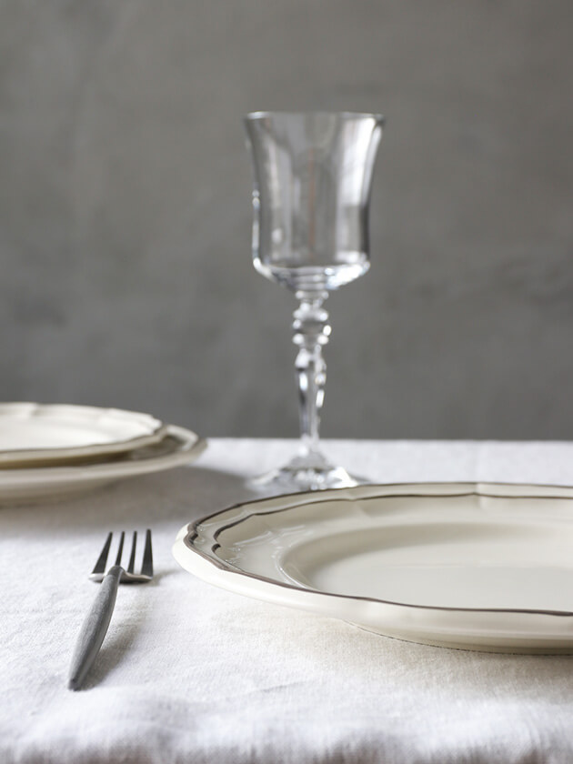 GienディナープレートFilet TAUPE ジアンフィレ Gien Filet Taupe Dinner Plate