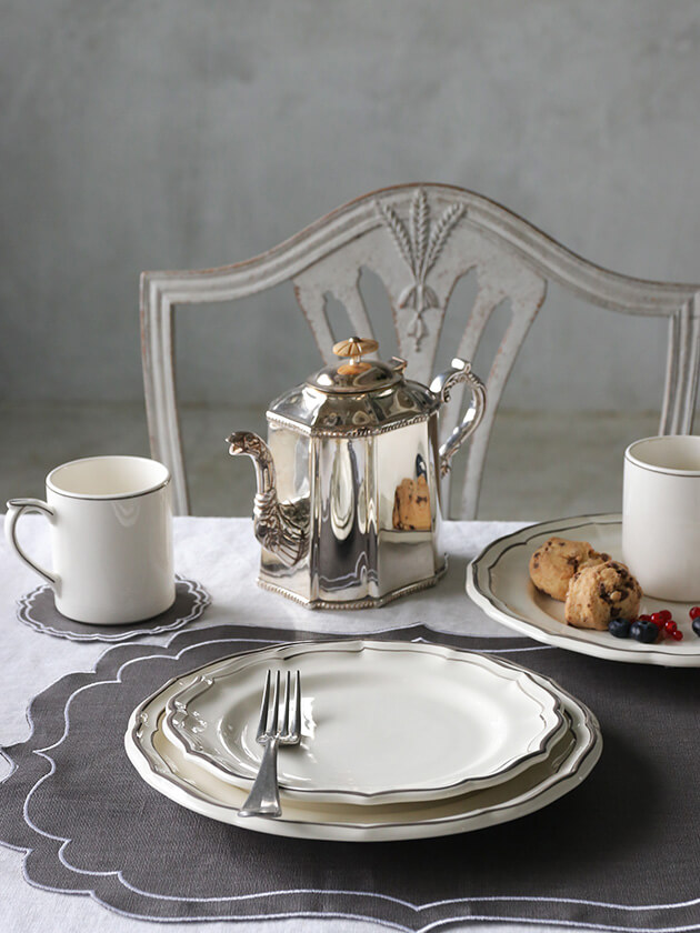 GienデザートプレートFilet TAUPE ジアンフィレ Gien Filet Taupe Dessert Plate