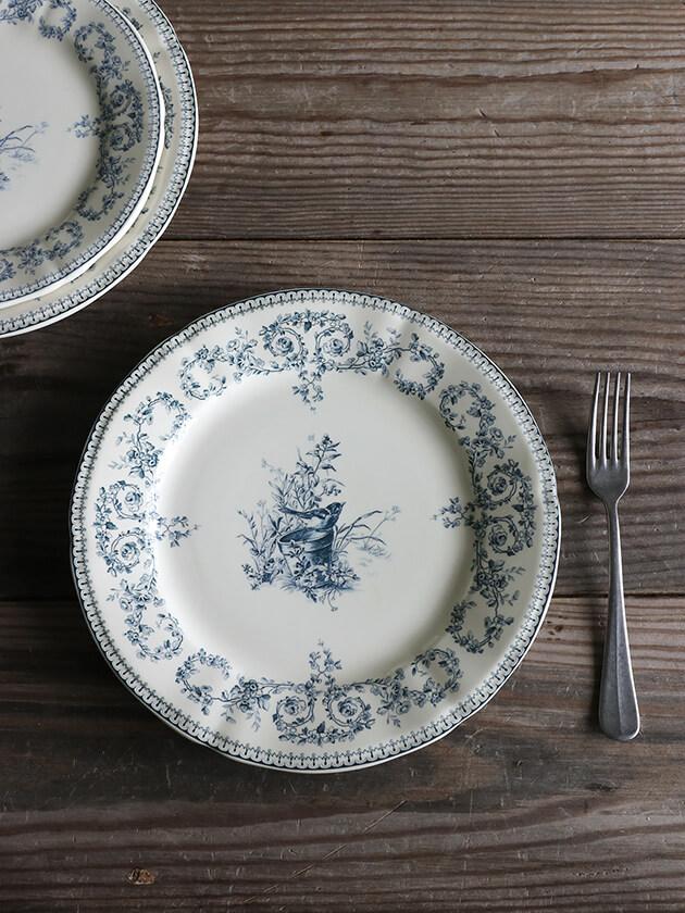 GienディナープレートOiseau Depareillees Bleu ジアンオアゾ— Gien Oiseau Depareillees Bleu Dinner Plate