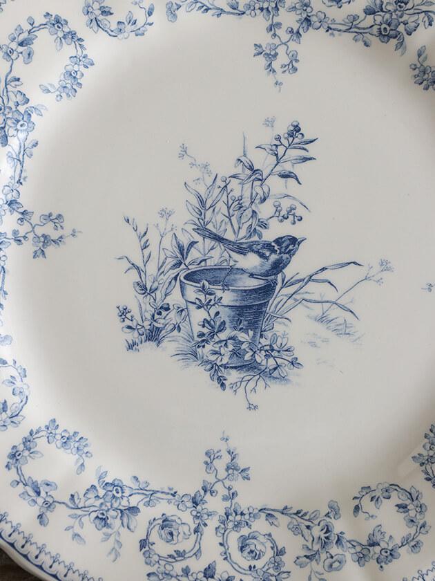 GienデザートプレートOiseau Depareillees Bleu ジアンオアゾ Gien Oiseau Depareillees Bleu Dessert Plate