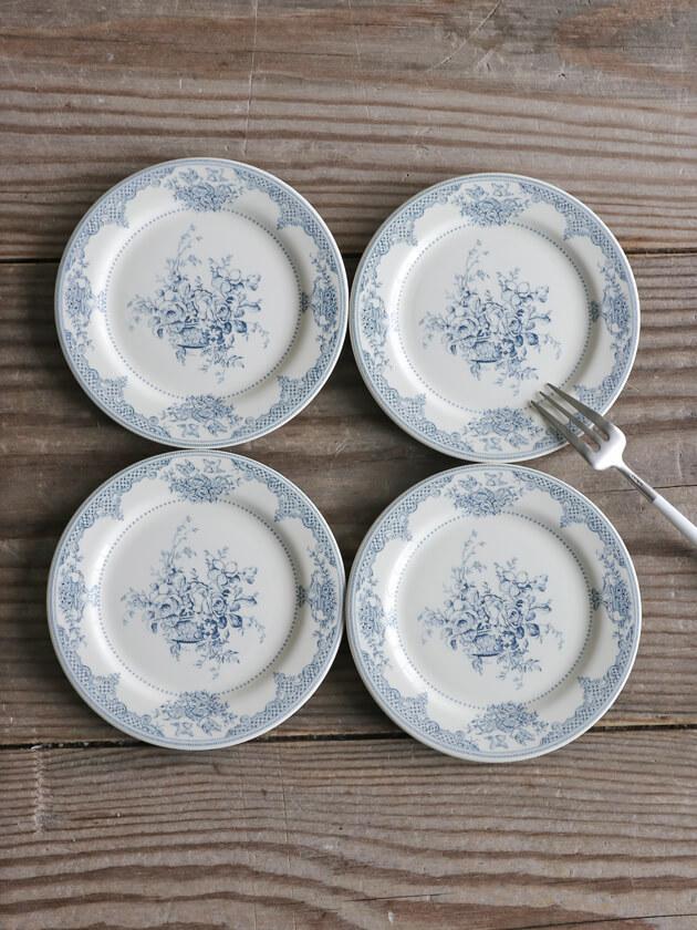 Gienパン皿Fleurs Depareillees Bleu ジアンフルール Gien Fleurs Depareillees Blue Bread Plate