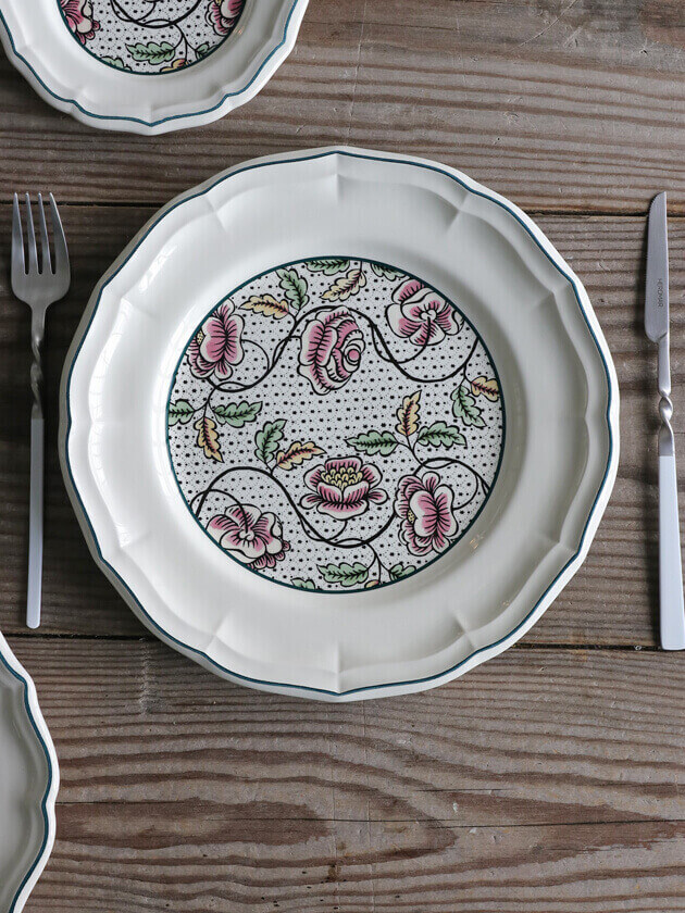 GienディナープレートAntoinette Poisson Dominote ジアンアントワネットポワソン Gien Antoinette Poisson Dominote Dinner Plate
