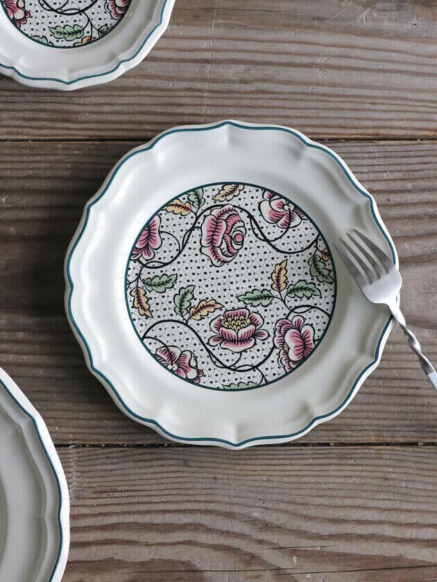 GienデザートプレートAntoinette Poisson Dominote ジアンアントワネットポワソン Gien Antoinette Poisson Dominote Dessert Plate